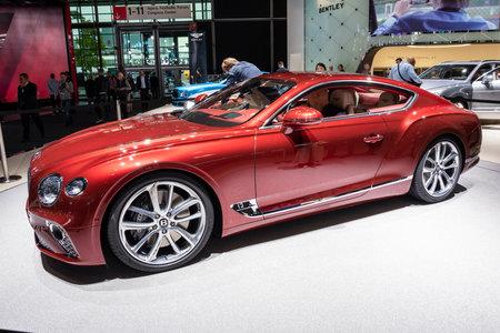 FRANKFURT, GERMANY - SEP 13, 2017: All-new 2018 Bentley Continental GT luxury car showcased at the Frankfurt IAA Motor Show. Editorial