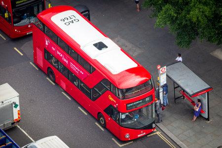 LONDON - JUL 01, 2015: A Double-decker bus on the street in London