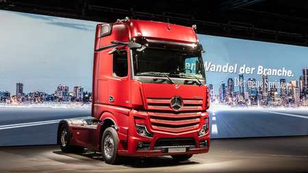 HANNOVER, GERMANY - SEP 27, 2018: New 2019 Mercedes Actros 1853 Sleeper Truck debut at the Hannover IAA Commercial Vehicles Motor Show.