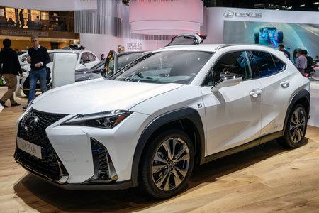 PARIS - OCT 2, 2018: New 2019 Lexus UX 250h hybrid crossover SUV car showcased at the Paris Motor Show.