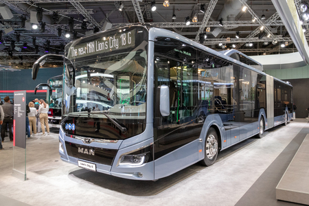 HANNOVER, GERMANY - SEP 27, 2018: New MAN Lions city public bus showcased at the Hannover IAA Commercial Vehicles Motor Show