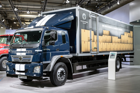 HANNOVER, GERMANY - SEP 27, 2018: Indian BharatBenz MDT 1617R medium duty truck showcased at the Hannover IAA Commercial Vehicles Motor Show. Editorial