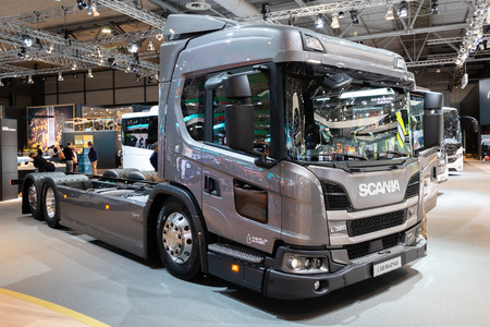 HANNOVER, GERMANY - SEP 27, 2018: New Scania L320 urban truck showcased at the Hannover IAA Commercial Vehicles Motor Show. Editorial