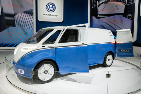 HANNOVER, GERMANY - SEP 27, 2018: New Volkswagen I.D. Buzz Cargo electric delivery van showcased at the Hannover IAA Commercial Vehicles Motor Show. Editorial