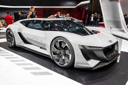 PARIS - OCT 2, 2018: Audi PB18 e-tron concept super car unveiled at the Paris Motor Show.