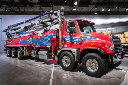 HANNOVER, GERMANY - SEP 27, 2018: Freightliner 114SD Severe Duty truck showcased at the Hannover IAA Commercial Vehicles Motor Show. Editorial