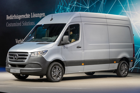 HANNOVER, GERMANY - SEP 27, 2018: New 2019 Mercedes-Benz Sprinter van showcased at the Hannover IAA Commercial Vehicles Motor Show. Éditoriale