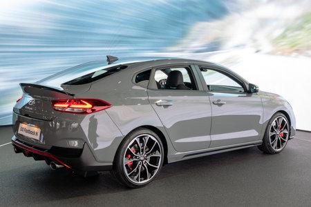 PARIS - OCT 2, 2018: New Hyundai i30 Fastback N car showcased at the Paris Motor Show.