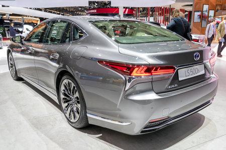 PARIS - OCT 3, 2018: Lexus LS 500h hybrid luxury sedan car showcased at the Paris Motor Show.