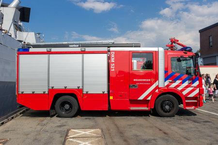 DEN HELDER, THE NETHERLANDS - JUL 7, 2012: Mercedes Atego 1528 Firetruck on duty during the Dutch Navy Days .