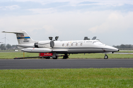 LEEUWARDEN, THE NETHERLANDS - SEP 17, 2011: Ramstein based United States Air Force Learjet 35 (C-21A) VIP jet plane from 76th Airlift Squadron on the tarmac of Leeuwarden air base.