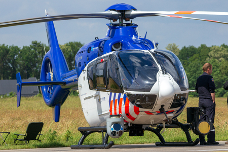 VOLKEL, NETHERLANDS - JUN 14, 2013: Dutch Airbus-Eurocopter EC-135 police helicopter at the Royal Netherlands Air Force Days. Éditoriale