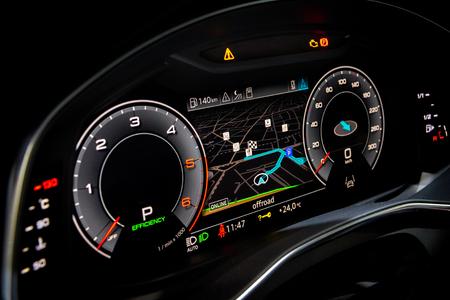 Side view of a digital dashboard in a modern car.