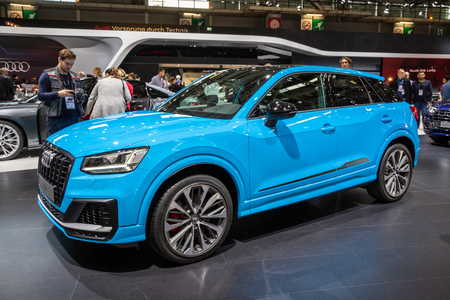 PARIS - OCT 3, 2018: New 2018 Audi SQ2 car presented at the Paris Motor Show. Redactioneel