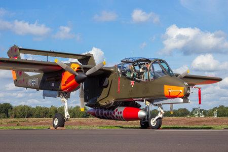 KLEINE BROGEL, BELGIUM - SEP 8, 2018: Former German Air Force Rockwell OV-10 Bronco turboprop light attack and observation aircraft on the tarmac of Kleine-Brogel Airbase.