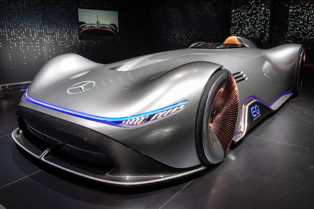 PARIS - OCT 3, 2018: Mercedes Benz Concept EQ Silver Arrow Electric Intelligence car showcased at the Paris Motor Show. Stock Photo - 115970906