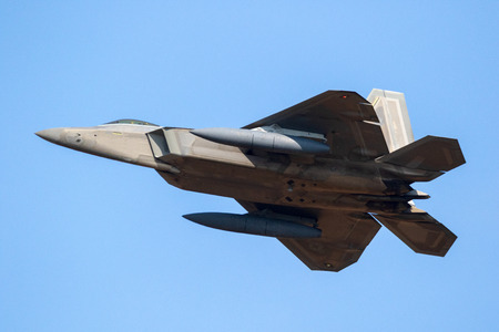 SPANGDAHLEM, GERMANY - 29 AUG, 2018: US Air Force Lockheed Martin F-22 Raptor stealth air superiority fighter jet aircraft taking off from Spangdahlem Air Base. Editorial