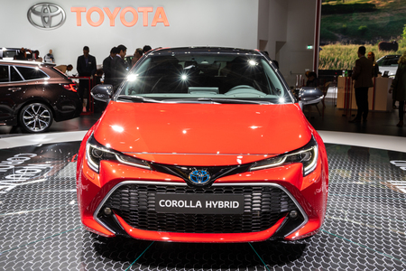 PARIS - OCT 3, 2018: New Toyota Corolla Hybrid car showcased at the Paris Motor Show. Reklamní fotografie - 115970861