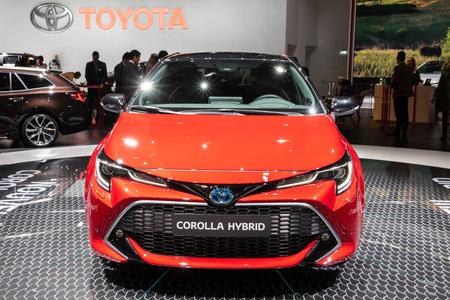 PARIS - OCT 3, 2018: New Toyota Corolla Hybrid car showcased at the Paris Motor Show. Redakční