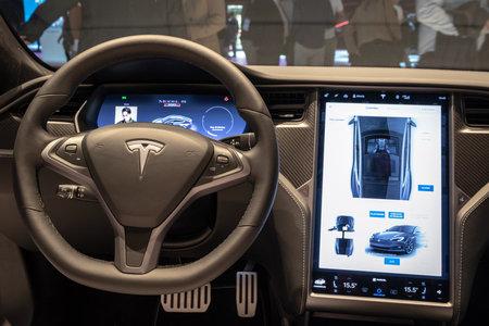 PARIS - OCT 3, 2018: Interior dashboard view of theTesla Model S P100D electric car showcased at the Paris Motor Show.