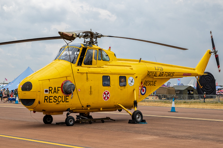 FAIRFORD, UK - JUL 13, 2018: Former British Royal Air Force (RAF) Westland WS-55 Whirlwind rescue helicopter on the tarmac of RAF Fairford airbase.