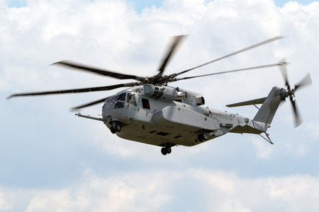 BERLIN - APR 27, 2018: New Sikorsky CH-53K King Stallion heavy-lift helicopter of the US Marines in action at the Berlin ILA Air Show. Editorial