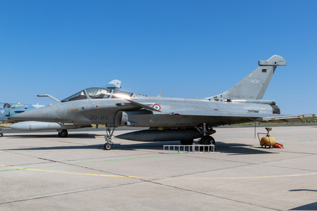 NANCY, FRANCE - JUL 1, 2018: French Air Force Dassault Rafale fighter jet aircraft on the tarmac of Nancy Airbase. Editorial