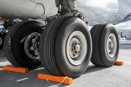 PARIS, FRANCE - JUN 23, 2017: Main landing gear on an Airbus A380 passenger plane. Editorial
