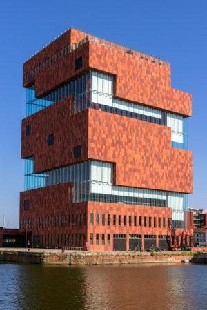 ANTWERP,BELGIUM - JUL 9, 2013: View on the MAS museum building in Antwerp. Redactioneel