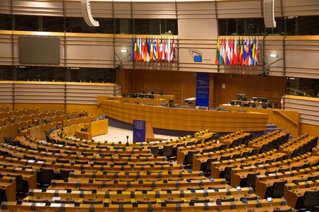 BRUSSELS, BELGIUM - JULY 30, 2014: The EU European Parliament Room in Brussels.