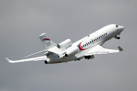 PARIS, FRANCE - JUN 23, 2017: New Dassault Falcon 8X business jet flying at the Paris Air Show 2017
