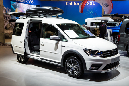 BRUSSELS - JAN 10, 2018: Volkswagen Caddy car showcased at the Brussels Expo Autosalon motor show. Editorial
