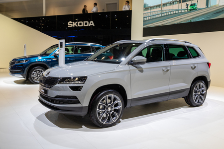 BRUSSELS - JAN 10, 2018: Skoda Karoq compact SUV car showcased at the Brussels Expo Autosalon motor show.