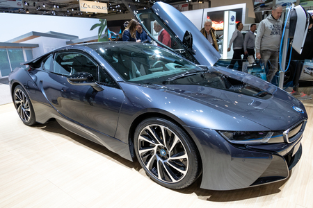 BRUSSELS - JAN 19, 2017: BMW i8 sports car presented at the Brussels Motor Show. Editorial