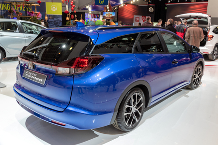 BRUSSELS - JAN 19, 2017: Honda Civic Tourer car presented at the Brussels Autosalon Motor Show.