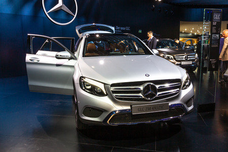 FRANKFURT, GERMANY - SEP 16, 2015: Mercedes Benz GLC 250 4MATIC SUV car showcased at the Frankfurt IAA Motor Show.