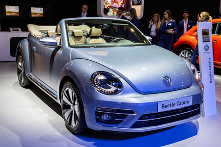 BRUSSELS - JAN 10, 2018: Volkswagen Beetle cabriolet car showcased at the Brussels Expo Autosalon motor show. Redakční