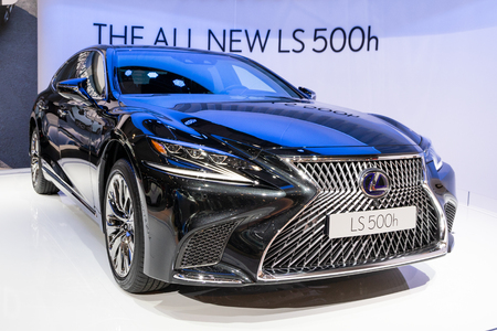 BRUSSELS - JAN 10, 2018: Lexus LS500h car showcased at the Brussels Expo Autosalon motor show.