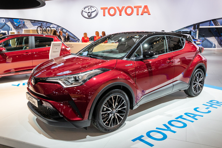 BRUSSELS - JAN 10, 2018: New Toyota C-HR  subcompact crossover SUV car showcased at the Brussels Expo Autosalon motor show. Editorial