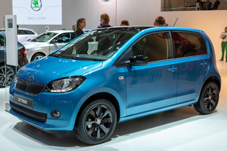 BRUSSELS - JAN 19, 2017: Skoda Citigo car presented at the Brussels Autosalon Motor Show. Editorial