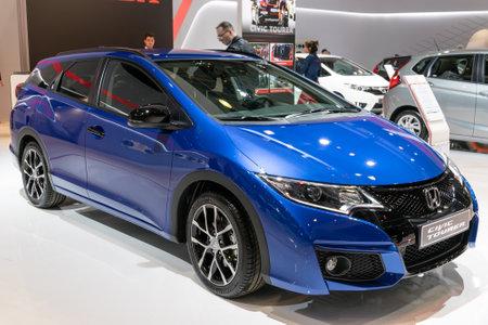 BRUSSELS - JAN 19, 2017: Honda Civic Tourer car presented at the Brussels Autosalon Motor Show.