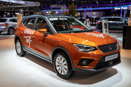 BRUSSELS - JAN 10, 2018: Seat Arona car showcased at the Brussels Expo Autosalon motor show. Editorial