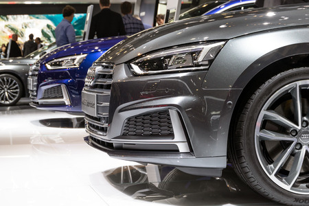 BRUSSELS - JAN 19, 2017: New Audi cars on display at the Brussels Autosalon Motor Show. Editöryel