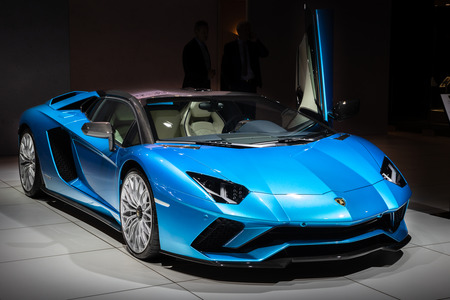 BRUSSELS - JAN 10, 2018: Lamborghini Aventador S Roadster LP740-4 super sports car showcased at the Brussels Expo Autosalon motor show.