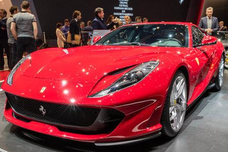 GENEVA, SWITZERLAND - MARCH 8, 2017: New Ferrari 812 Superfast sports car showcased at the 87th Geneva International Motor Show. Editorial