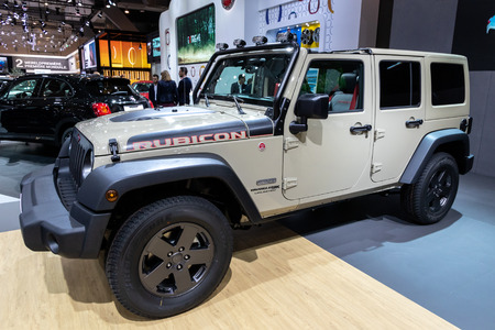 BRUSSELS - JAN 10, 2018: Jeep Wrangler JK Rubicon Recon 4X4 car showcased at the Brussels Expo Autosalon motor show.