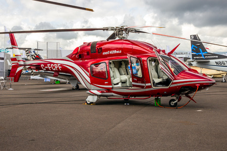 LE BOURGET PARIS - JUN 18, 2015: Bell 429 WLG GlobalRanger helicopter showcased at the Paris Air Show.