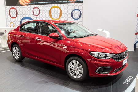 BRUSSELS - JAN 10, 2018: Fiat Tipo car showcased at the Brussels Expo Autosalon motor show.