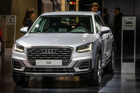 BRUSSELS - JAN 10, 2018: Audi Q2 mini SUV car showcased at the Brussels Expo Autosalon motor show.