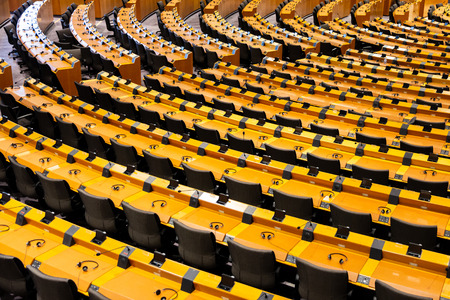 BRUSSELS, BELGIUM - JULY 30, 2014: The EU European Parliament Room in Brussels.